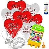 15 Herz Luftballons mit Helium Ballon Gas Motiv Frisch Verheiratet Hochzeit Valentinstag Komplettset + Gratis Doriantrade Seifenblasen