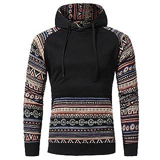 IMJONO Jacket,2019 Neujahrs Karnevalsaktion Herrenkleidung Men Retro Long Sleeve Hoodie Hooded Sweatshirt Tops Jacket Coat Outwear(Large,Schwarz)