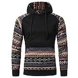IMJONO Herrenkleidung Men Retro Long Sleeve Hoodie Hooded Sweatshirt Tops Jacket Coat Outwear(XXX-Large,Schwarz)