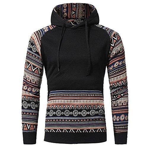 Look Kostüm Leder Cape - IMJONO Jacket,2019 Neujahrs Karnevalsaktion Herrenkleidung Men Retro Long Sleeve Hoodie Hooded Sweatshirt Tops Jacket Coat Outwear(Medium,Schwarz)