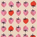 Beigefarbener Stoff mit Erdbeeren von Cotton + Steel