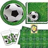 Fußball Football Partyset 53 Teile für 16 Kinder Teller Becher Servietten Tischdecke