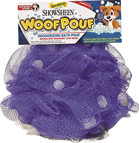 Absorbine Showsheen Dog Woof Deodorizing Bath Pouf Infused with Ordenone Soap/Shampoo Beads, Purple 1
