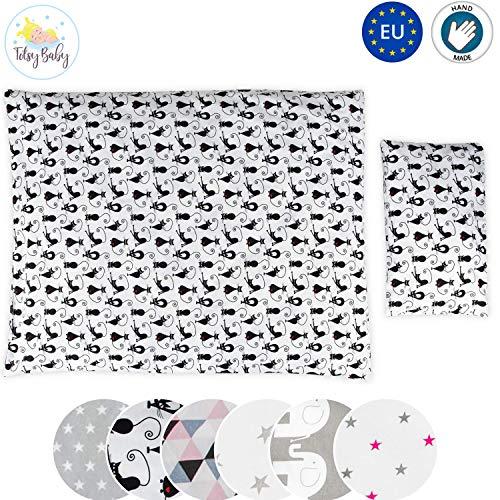 Literie pour bébé, set complet 100x135 et au choix en coton 2 pièces Blanc avec des chats noirs)