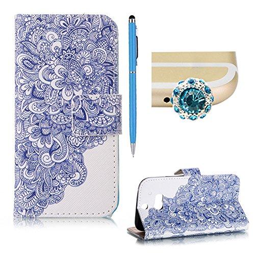 SKYXD HTC One M8 Hülle Leder Blau Lotus Muster Folio Klappbar Handy Tasche Schutzhülle [Magnet / Brieftasche Kartenfach / Standfunktion] Klapphülle mit [Handyanhänger + Eingabestift] Zubehör Set für HTC One M8 Case Bookstyle Flip Leather Cover With [Stylus and Dust Plug]