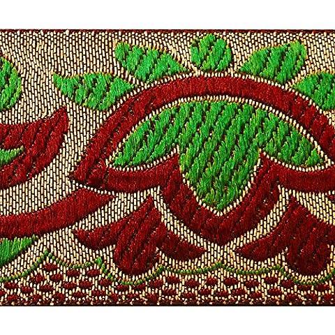Silber Jacquard-Ordnung Blumen Fertigkeit-Band 5,0 cm breit Sari Border By The Yard