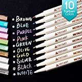 Tritart Profi Metallic Stifte Set für Fotoalbum - Scrapbook - Glatte Oberflächen | 10 Metallic Marker Pens