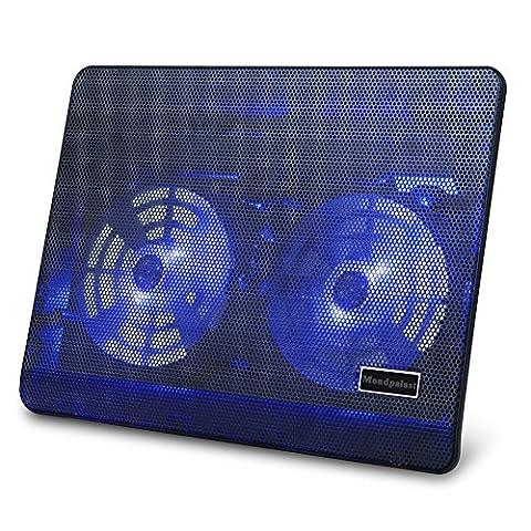 Mondpalast @ Refroidisseur pour Ordinateur Portable avec 2 Ventilateurs Silencieux LED bleue Cooler Cooling Pad pour PC ordinateur de moins de 17 pouces portable Notebook Laptop Asus Lenovo Ideapad Apple MacBook Air