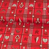 Baumwollstoff Weihnachten Karo Herzen Sterne rot Advent -