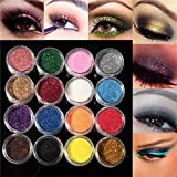 Bluelover 16 Colori Eye Shadow Glitter Polvere Set Nail Art Decorazione Diy Bling Partito Spettacolo Shimmer Makeup