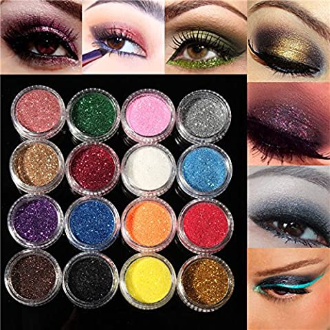 Bluelover 16 Couleurs Eye Shadow Glitter Powder Set Nail Art Decoration Diy Bling Party Show Shimmer Makeup