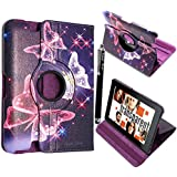 """FOR AMAZON KINDLE FIRE HD 7"""" VARIOUS PU LEATHER WITH SLEEP/WAKE STANDBY MAGNETIC CASE COVER POUCH + STYLUS BY GSDSTYLEYOURMOBILE (Ultra Butterfly Blue)"""