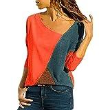 heekpek Costura Color De Contraste Cuello Redondo Manga Larga/Corta Camiseta Mujer Top Mujer Camisas Mujer Verano Elegantes C