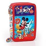 Disney Mickey Mouse 51324 Trousse Triple, 3 Compartiments, Feutres, Crayons, Accessoires École 44 Pièces, Polyester, Multicolore