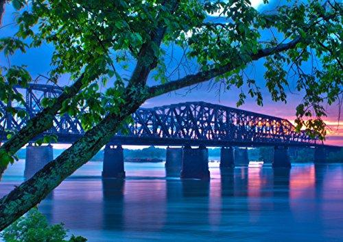 hansepuzzle 15334 Orte - Mississippi-Brücke, 260 Teile in hochwertiger Kartonbox, Puzzle-Teile in wiederverschliessbarem Beutel. - Mississippi-brücke