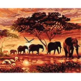 CaptainCrafts New DIY Paint by Numbers 16x20  for Adults Beginner kit, Kids LINEN Canvas - Dawn Forest Elephant Family