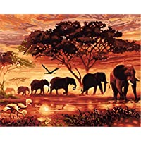 """CaptainCrafts New DIY Paint by Numbers 16x20 """" for Adults Beginner kit, Kids LINEN Canvas - Dawn Forest Elephant Family"""