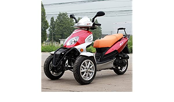 DONGFANG 49cc Falcon Trike Scooter Gas Moped Red 3 Wheels