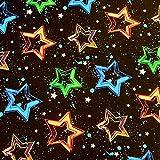 0,5m Jersey Neon Sterne schwarz-bunt 95% Baumwolle 5% Elasthan Meterware 140cm Gewicht: 200 g/m²
