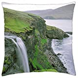 "Faroe Island Waterfall, Denmark - Throw Pillow Cover Case (18"" x 18"")"