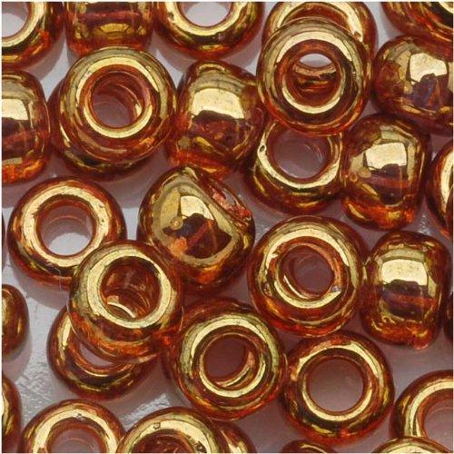 Toho #421 Glasperlen in Tube, Größe 6/0, rund, 8 g, goldfarben / Rosa, klar