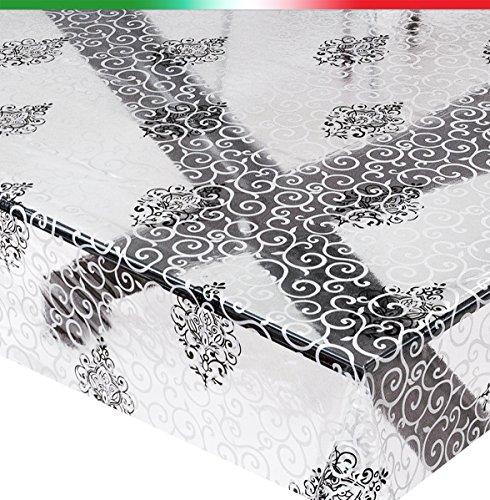 Tovaglia moderna trasparente vendita al metro altezza 140cm antimacchia bianca nera mod.kristal93