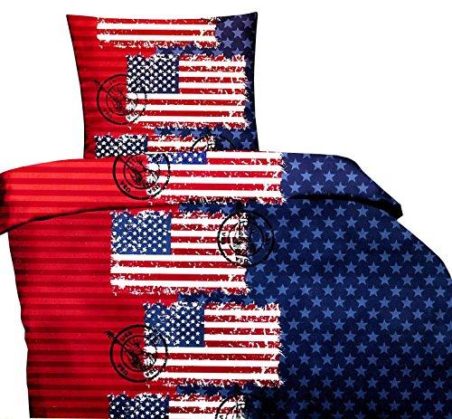 6 tlg. Microfaser Bettwäsche 135 x 200 cm Garnitur Sparset USA Flagge blau/rot Modern mit Reißverschluss Spannbettlaken