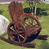 CARTWHEEL - Solid Wood Garden Rocking Chair - Burntwood