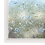 Rabbitgoo Film de Fenêtre Décoratif Repositionnable Film Autocollant Statique Adhésif 3D Film de Vitre Anti Regard Motif Tulipes Fleurs 44.5cm × 200cm