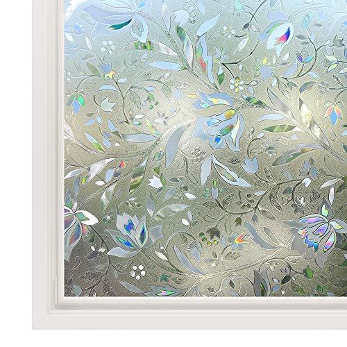 rabbitgoo 3D Statisch Selbsthaftend Fensterfolie Blickdicht Sichtschutzfolie Fenster Milchglasfolie Folie Glasfolie Selbstklebend Dekofolie UV Schutz Blumen 90 x 200 cm