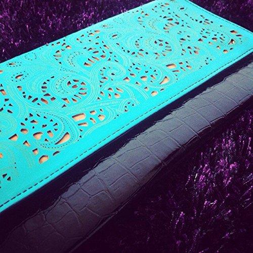 Zarapack Women's Barock-Stil, Pu-Leder, Clutch-Handtasche, Umhängetasche, Schultertasche blau
