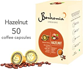 Bonhomia Artisan Hazelnut Flavoured Nespresso Compatible Coffee Capsules, 50 Capsules