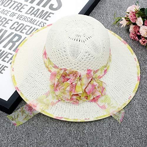 LAIGESJADIAO Hat Ladies Summer Korean Flower Sun Hat Beach Hat Edging Big Outdoor Sun Hat Knit Visor - Womens Visor Knit Hat