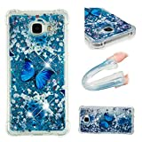 E-Mandala Samsung Galaxy A5 2016 Hülle Glitzer Flüssig Liquid Glitter Case Cover Handyhülle Schutzhülle Transparent mit Muster Durchsichtig Tasche Silikon - Blumen Schmetterling Lila