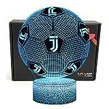 Deal Best Forma di Calcio 3D Illusione Ottica Smart 7 Colori LED Luce di Notte Lampada da Tavolo con Cavo di Alimentazione USB Juventus