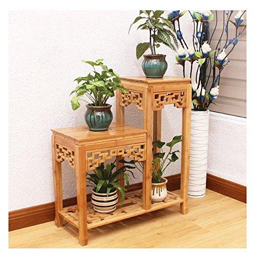 HTZ Vin Rouge Chinois Bambou Support Salon Carré Stand De Fleurs Balcon Étage Plante Jardin De Fleurs ++ (Couleur : A, taille : 52+78CM)
