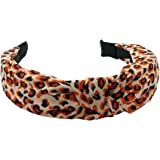 Kanthan Leopard Tiger Print Fabric Knot Plastic Hairband for Women, Orange