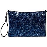 CASPAR TA341 große Damen XL Glitzer Pailletten Clutch Tasche Abendtasche mit Handschlaufe, Farbe:blau;Größe:One Size