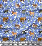 Soimoi Blau Baumwoll-Voile Stoff Känguru, Elefant & Löwe