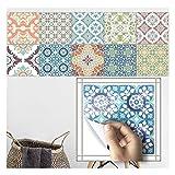 Apsoonsell marocain carrelage étanche Autocollant Papier peint de meubles de salle de bain DIY arabe Autocollant pour carrelage (8* 8inches-10pcs, 1B, 8 * 8inches|20cm*20cm