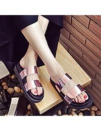 Todos inferior grueso-match estudiante ocio sandalias zapatillas retro zapatillas de playa femenina Harajuku,35 Rosa