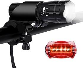 LED Fahrradlicht set, Bukm LED Fahrradlichter Sport Fahrradlampe Frontlicht und Rücklicht für Radfahren, Camping und täglichen Gebrauch, Wasserdicht Fahrradbeleuchtung