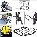 Takestop® Red elástica Porta Objetos Almacenamiento Negro universal a 6ganchos 40x 40cm nailon y metal para moto ciclomotor bicicleta Scooter Casco