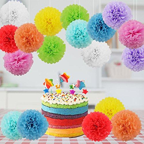 18er Set 9 PomPoms Weiß deko Papier Hochzeit Geburtstag Feier Party Baby Shower Deko - Rote Rosa Orange Gelb Grün Hellblau Blau Lila, 20cm