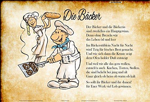 ComCard Die Bäcker gedicht. lustig Schild aus Blech, Metal Sign, tin Comic Beruf beschriebung