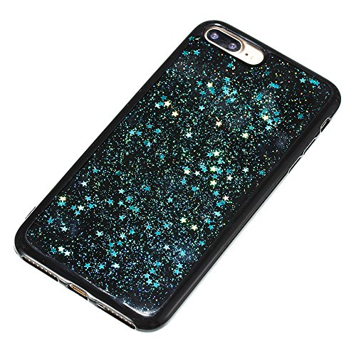 iPhone 8 Plus Case Silicone,iPhone 7 Plus Coque Paillette,iPhone 8 Plus Housse Noir Ultra Fine Silicone Souple Flexible TPU avec Sterne Bling Glitter Paillette Housse Etui de Protection Premium Anti C Sterne Bleu