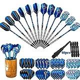 Dardos Profesionales Punta Plastico (18g), 12 Dardos de Plástico para Dianas Electrónicas - con Barriles de Acero Silver, eje de dardos azul,O-rings, 32 Plumas azul (16 Slim / 16 Standard), Inclui bambú depositar latas.