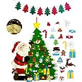 Fieltro Árbol de Navidad con 21 pcs Ornamentos Desmontables con 1 Piezas Banner de Navidad + 3M 30 Luces LED de Cadena,Decora