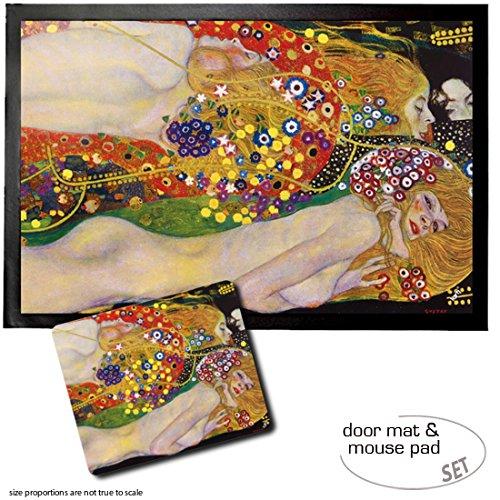 Set: 1 Fußmatte Türmatte (60x40 cm) + 1 Mauspad (23x19 cm) - Gustav Klimt, Wasserschlangen II,...