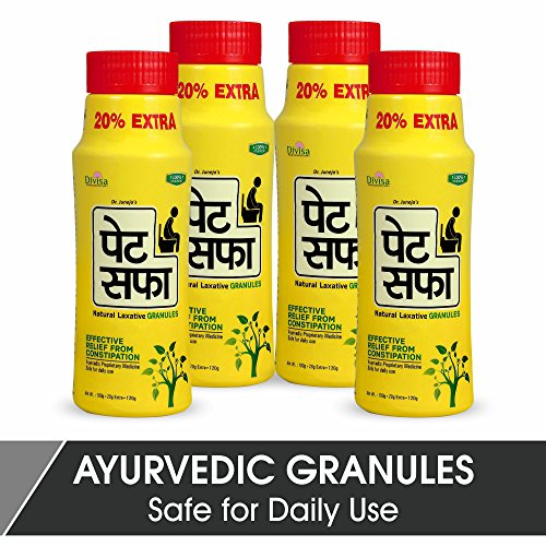Pet Saffa Granules 120gm (Pack of 4) - Constipation Relief Powder with Senna, Ajwain, Saunf, Triphala, Nisot, Kalimirch, Castor Oil, Ispaghula, Jeera, Sonth - Relief from Constipation, Natural Care, Kabz Relief Churna  available at amazon for Rs.262